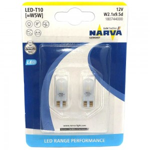 Светодиодные лампы LED Narva Range Performance T10 (W5W) 18074-02B 12v 0.6w 6000k W2,1x9,5d
