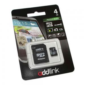 Карта памяти AddLink microSDHC, 4Gb, Class4, SD адаптер