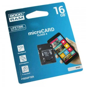 Карта памяти Goodram microSDHC, 16Gb, Class4, SD адаптер