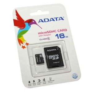 Карта памяти A-Data microSDHC, 16Gb, Class4, SD адаптер