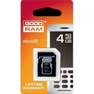 Карта памяти Goodram microSDHC, 4Gb, Class4, SD адаптер